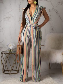 Pink Rainbow Striped Ruffle Belt Pockets V-neck Elegant Party High Waisted Wide Leg Palazzo Long Jumpsuit