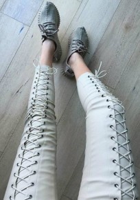 Grey Front Lace Up Drawstring Elastic Waist PU Leather Trousers Long Pants