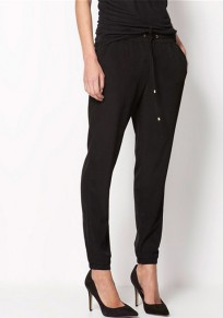 Black Plain Pockets Drawstring Mid-rise Casual Long Pants