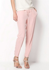 Pink Plain Pockets Drawstring Mid-rise Casual Long Pants
