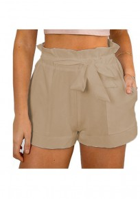 Khaki Plain Sashes Elastic Waist High Waisted A Type Casual Shorts