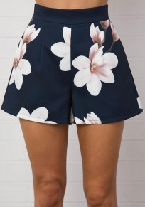 Blue Floral Pockets Zipper Sewing High Waisted Fashion Shorts