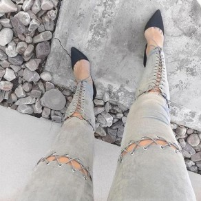Grey Hollow-out Drawstring Elastic Waist High Waisted Long Pants