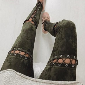 Army Green Hollow-out Drawstring Elastic Waist High Waisted Long Pants
