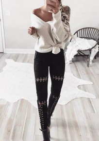 Black Hollow-out Drawstring Elastic Waist High Waisted Long Pants