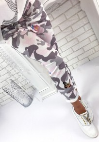 Grey Floral Bow Sewing Mid-rise Casual Long Pants