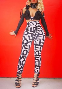 White-Black Letter Print High Waisted Skinny Casual Long Pants