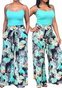 Multicolor Floral Leaves Print Drawstring Elastic Waist High Waisted Casual Long Pants