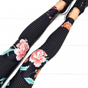Black Floral Print Elastic Waist Casual Long Pants