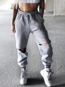 Grey Cut Out Pockets Drawstring Waist Fashion Long Pants