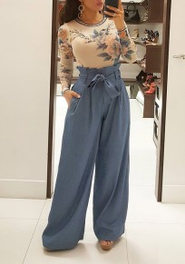Blue Pleated Palazzo Trousers High Waisted Wide Leg Pockets Belt Ruffle Long Pants