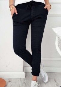 Black Plain Drawstring Pockets Mid-rise Casual Pants