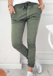 Green Plain Drawstring Pockets Mid-rise Casual Pants