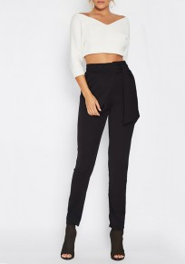 Black Pockets Belt High Waisted Casual Long Pencil Pants