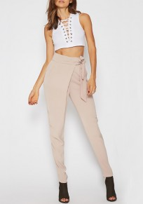 Beige Pockets Belt High Waisted Casual Long Pencil Pants
