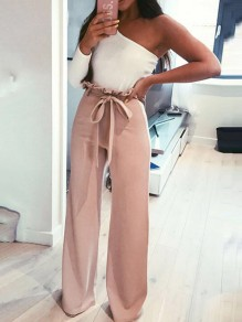 Pink Ruffle Sashes Bow Zipper High Waisted Wide Leg Casual Cute Pants