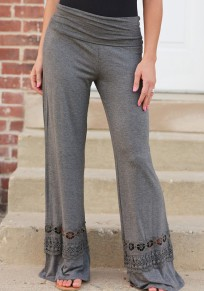 Dark Grey Patchwork Lace Mid-rise Wide Leg Loose Fashion Long Pants