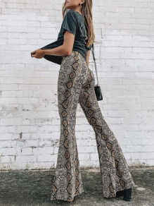 Black Pythons Grain Print High Waisted Flare Long Pants