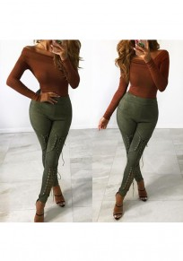 Green Patchwork Cut Out Lace-up Fashion High Waisted Long Pants