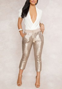 Golden Patchwork Sequin Drawstring Pockets Sparkly High Waisted Clubwear Nine's Pants