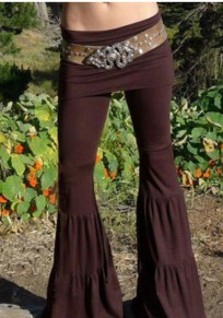 Coffee Pleated High Waisted Mom Going Out Yoga Flare Long Pants
