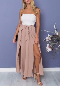 Light Pink Sashes Draped Double Slit High Waisted Long Wide Leg Pants