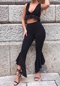 Black Irregular Ruffle High Waisted Elegant Work Out Long Flare Pants