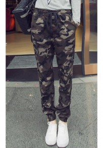 Army Green Camouflage Pockets Zipper Drawstring Waist Nine's Pants