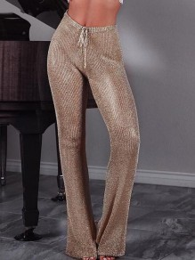 Golden Drawstring Bright Wire Sparkly High Waisted Party Bell Bottoms Long Flare Pants