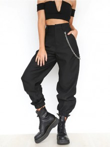 Black Chains Pockets Drawstring Zipper High Waisted Going Out Casual Long Cargo Pants