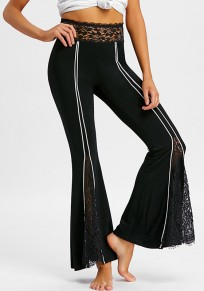 Black Striped Lace High Waisted Elegant Party Wide Leg Long Pants