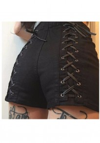 Black Cross Lace-up High Waisted Ttrendy Going out Shorts