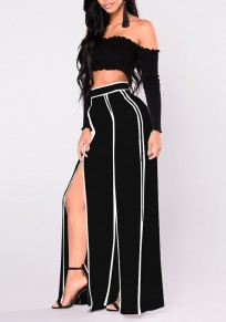 Black-White Striped High Slit High Waisted Office Worker Elegant Wide Leg Long Pants