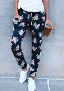 Black Floral Pockets Drawstring Waist Fashion Long Pants