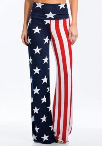 White American Flag Print High Waisted Independence Day Casual Wide Leg Pajama Lounge Pants