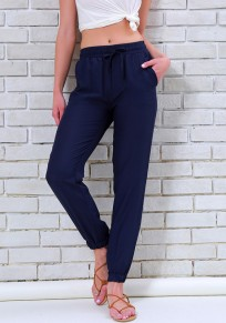Blue Pockets Drawstring Casual Long Pants