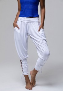 White Cross Drawstring Pockets Lace-up Casual Going out Nine's Pants