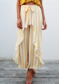 Orange Striped Print Ruffle Sashes Going out Long Pant