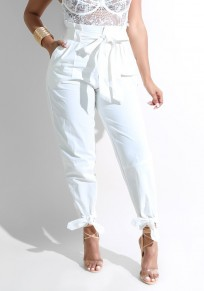 White Sashes Pockets Bow Office Worker/Daily Elegant Long Pants