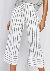 White Striped Sashes Casual Nine's Pants