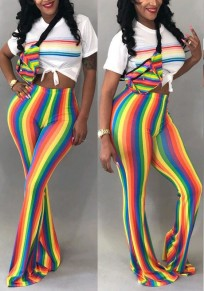 Yellow Striped Rainbow Print Party Flare Bell Bottom Long Pants