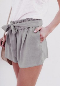 Grey Sashes Ruffle Pockets High Waisted Casual Shorts