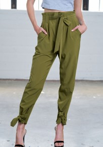 Army Green Ruffle Sashes Pockets Casual Long Pants