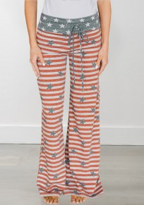 Red Striped American Flag Print Drawstring Plus Size High Waisted Casual Long Pants