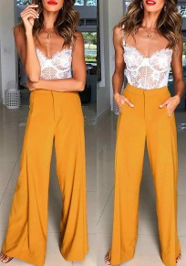 Dark Yellow Buttons Pockets Going out Wide Leg Long Pants