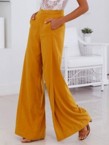 Ginger Pockets Draped Buttons High Waisted Wide Leg Elegant Workwear Long Pants