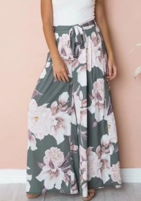 Army Green Floral Sashes Bohemian Casual Wide Leg Long Pants