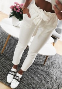 White Sashes Pockets Casual Long Pants