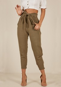 Army Green Sashes Pockets High Waisted Going out Office Worker/Daily Nine's Pants