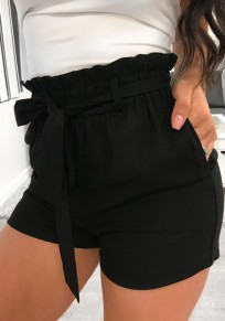 Black Sashes Pockets High Waisted Going out Casual Shorts